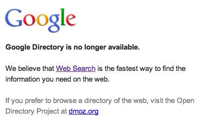 Google Directory удален