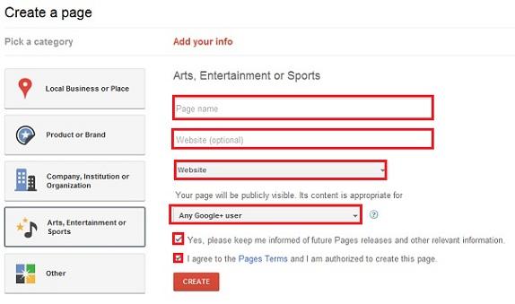 Создание бизнес-страниц в Google+