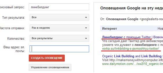 Google оповещения по интересующему запросу